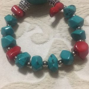 none Jewelry - Genuine Turquoise and corals bracelet